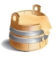 Wooden barrel of honey with metal silver clamps vector image vector image