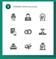 9 ceremony filled icons set isolated on icons vector image vector image