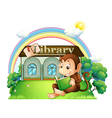 A monkey reading a book outside the library vector image vector image