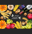 autumn harvest card realistic pumpkin vector image vector image