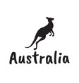 black kangaroo silhouette isolated on white vector image
