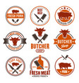 butcher shop set colored round emblems vector image vector image