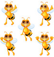 cartoon bee collection set vector image vector image