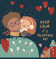 cartoon couple in love celebrating valentines day vector image