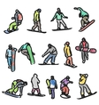 colored silhouettes snowboarders vector image