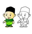 coloring melayu muslim boy vector image vector image