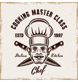 cooking emblem with chef and crossed knives vector image vector image