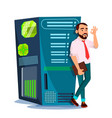 data center hosting server and man vector image vector image