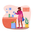 female character is disinfecting groceries from vector image