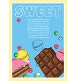 flyer on the theme of food and sweets on blue vector image vector image