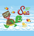 funny marine life cartoon vector image