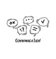 hand drawn black doodle concept communication vector image vector image