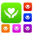 hands holding heart set collection vector image vector image