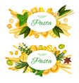 italian pasta spices herbs and olives vector image vector image