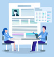 job interview and employment profile or resume vector image vector image