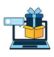 laptop with gift isolated icon vector image vector image
