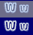 letter w on grey and blue background vector image vector image