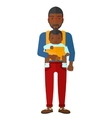 Man holding baby in sling vector image vector image