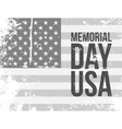 Memorial Day USA Text on grunge Flag vector image vector image