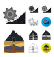 mining industry cartoonblackflatmonochrome vector image vector image