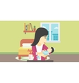 Mother with baby and breast pump vector image