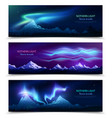 northern lights realistic banners vector image