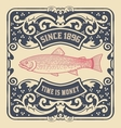 Old baroque card Floral and fish details vector image vector image