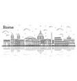 outline rome italy city skyline with historic vector image