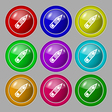 Pencil icon sign symbol on nine round colourful vector image