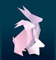 rabbit family couple origami hare vector image