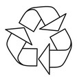 recycle sign icon outline style vector image