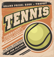 Retro poster design for tennis tournament vector image vector image