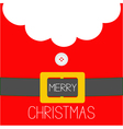 Santa Claus Coat Beard fur button and yellow belt vector image vector image
