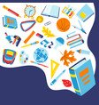 school background with education items vector image