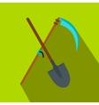 Scythe and shovel flat icon vector image