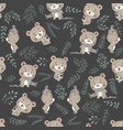 seamless pattern with cute bear in scarf and hat vector image vector image
