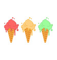 set ice cream in strawberry waffle horn pistachio vector image vector image