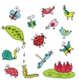 Set of funny cartoon insects isolated vector image vector image
