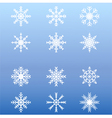 Set of white winter snowflakes on blue background vector image vector image