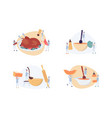 set thanksgiving dishes with tiny cookers flat vector image vector image