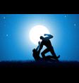 silhouette of men fighting vector image vector image