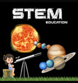 stem education poster design with girl and solar vector image