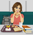 student having lunch in fast food restaurant vector image vector image