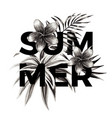 summer slogan black and white floral print vector image vector image