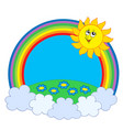 sun and meadow in rainbow vector image vector image