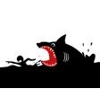swimming panicly avoiding shark attacks vector image