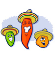 Three peppers wearing sobreros vector | Price: 1 Credit (USD $1)