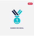 two color number one medal icon from general vector image