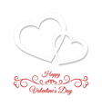 Two white hearts on a white background vector image