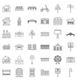 urban icons set outline style vector image